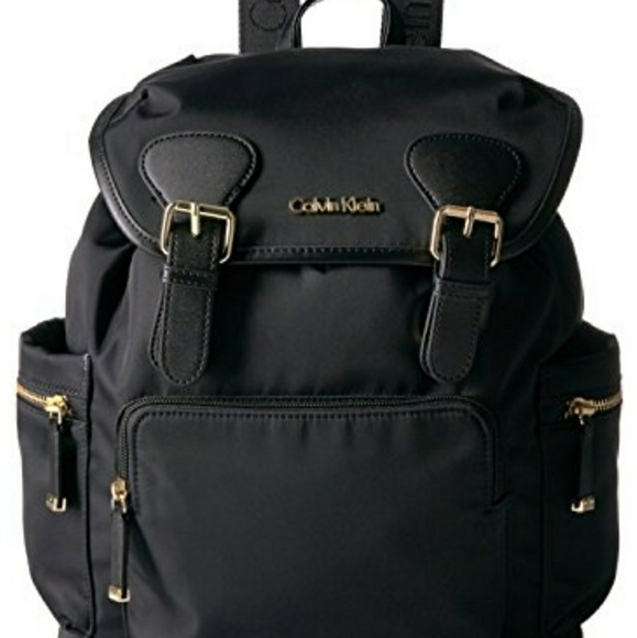 a0c3bb243bd Calvin Klein Handbags - Calvin Klein Dressy Nylon Buckle Backpack, Black/G